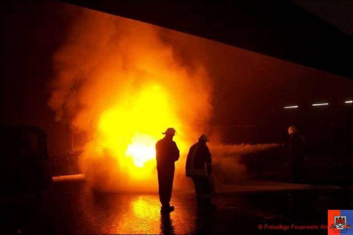 Brandbekämpfung mit Pulverlöscher